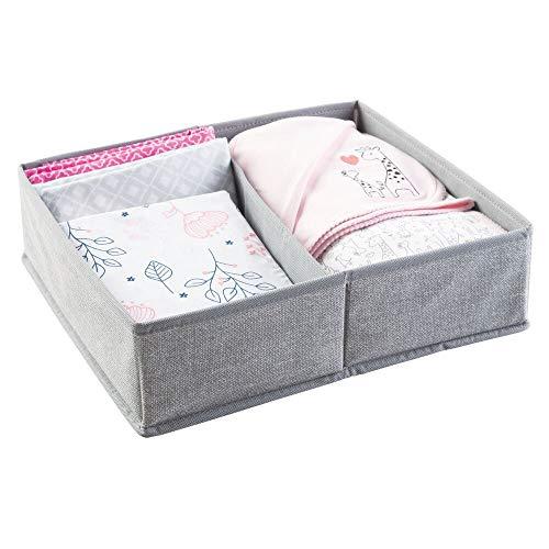 mDesign organiseur chambre de bébé - grand panier de rangement à deux compartiments pour couches, lingettes etc. sur la table à langer - convient aussi pour stockage de jouets dans les tiroirs - gris