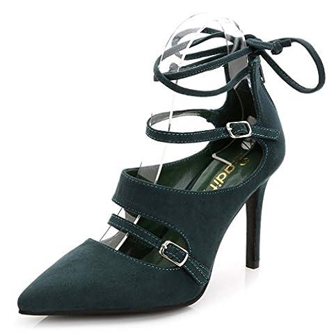 Xianshu Wildleder Gürtel schnalle Schnürsenkel Reißverschluss High Heel Schuhe Punkt Zehe Sandalen(Grün-37)