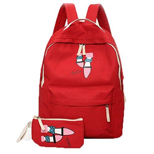 Ohmais 2PCS Rücksack Rucksäcke Rucksack Backpack Daypack Schulranzen Schulrucksack Wanderrucksack Schultasche Rucksack für Schülerin rot