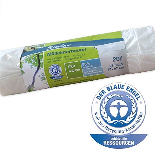 Secolan Müllbeutel / Müllsack 20l, weiß - ✓extra stark ✓wasserdicht ✓100{a561ebb33a783c41f57b285004ac892e51009a7aa313e69b062f2a881ae7402f} recyclingfähig - 1 Rolle/25 St.
