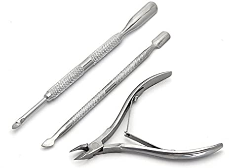 5starwarehouse 3pcs Professional Nail Cuticle Spoon Pusher Set Clipper Nipper Manicure Pedicure kit - 5star Cloth Included by 5starwarehouse