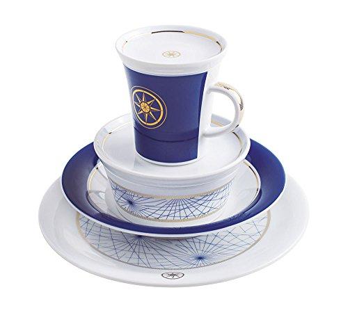 Kahla 32F245A03016C On Tour Design to go Geschirrset für 2 Personen Starterset 14-teilig Porzellanservice Becher Schalen Kuchenteller Teller Essteller Snackteller weiß blau (Geschirr Für Hochzeit)