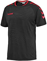 Hummel Hombre Camiseta Kinetic SS Jersey, black/scarlet (1091), xx-large