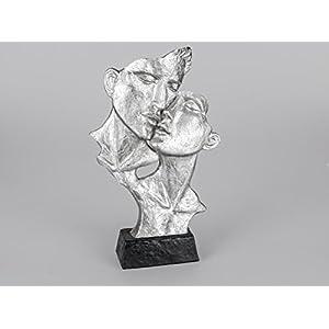 Lifestyle & More Exklusive Deko Büste Skulptur Paar küssend aus Keramik in schwarz/Silber Höhe 40 cm