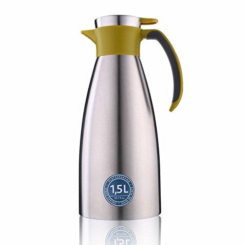 Emsa 514502  Isolierkanne, Edelstahl, 1.5 Liter, Quick Tip Verschluss, 100% dicht, Grün, Soft Grip -