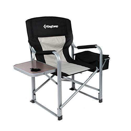KingCamp Campingstuhl Regiestuhl mit Seitentisch und Kühltasche, belastbar bis 150 kg
