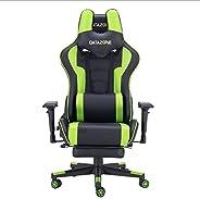 كرسي ألعاب بوسادة لظهر والرقبة و بمسند للقدمين باللون اسود / اخضر