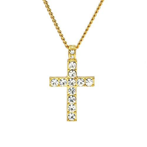 AmyGline Halskette für Männer Frauen Hip Hop Schmuck - Mode Bling Schmuck - Strass Kristall Kreuz Anhänger Halskette Geschenk (Gold)