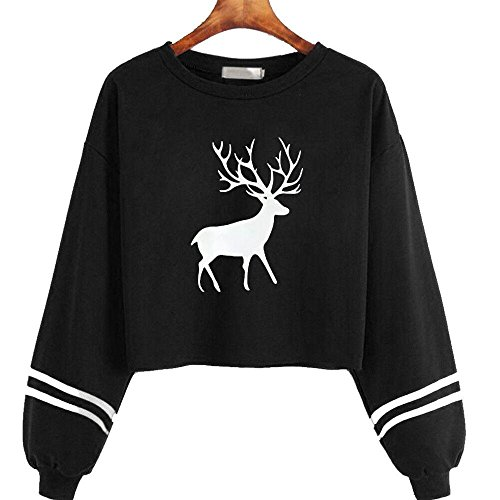 Momola Femmes Casual Manches Longues O Cou Cerf Imprimé Sweatshirt Tops Blouse Noir