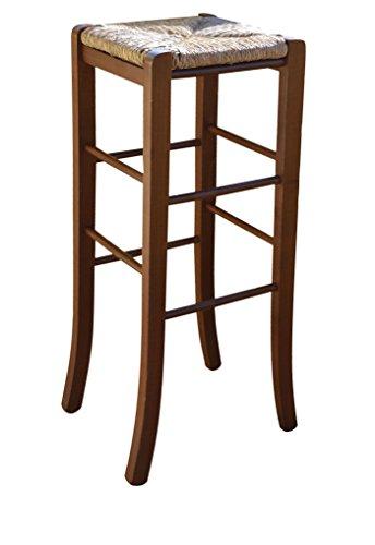 Sedia sgabello in legno massello noce scuro altezza 80 cm da terra con seduta in paglia quadrato con piedi a sciabola nuovo già montato