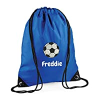 Campus Sports Personalised Drawstring Bag, Gym Bag, Embroidered with Football Design and Any Name, Boys PE Kit Bag, Swimming Bag, Back to School