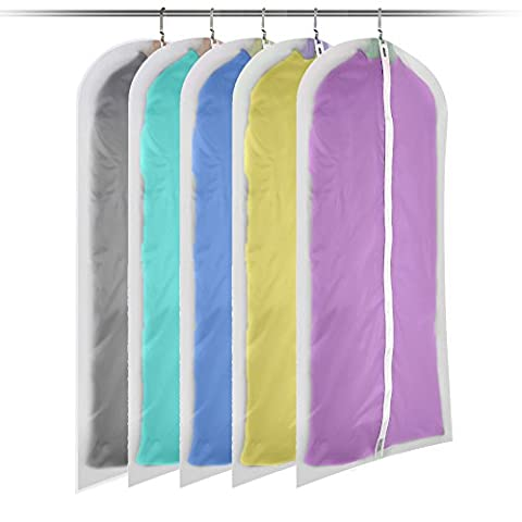 5 Pack of Eco-friendly Dustproof Clothing Covers Bags, Foldable Storage Bags Clear Zipped Suit Bags Zipper Garment Clothes Covers(120cm*60cm, 5