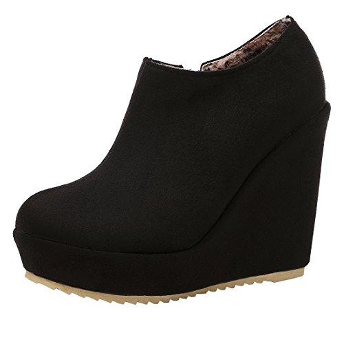 Artfaerie Damen Keilabsatz High Heels Stiefeletten Plateau Ankle Boots mit Reißverschluss Elegante Schuhe(EU 38,Schwarz) -