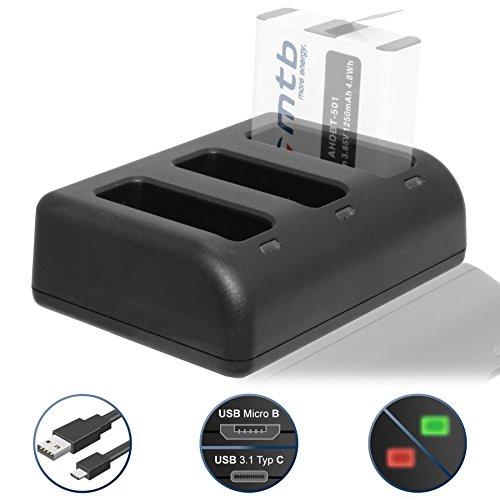 Triple-Ladegerät (USB) für GoPro Hero 5, Hero 6, Hero5 - inkl. Micro-USB-Kabel (bis zu 3 Akkus gleichzeitig ladbar)