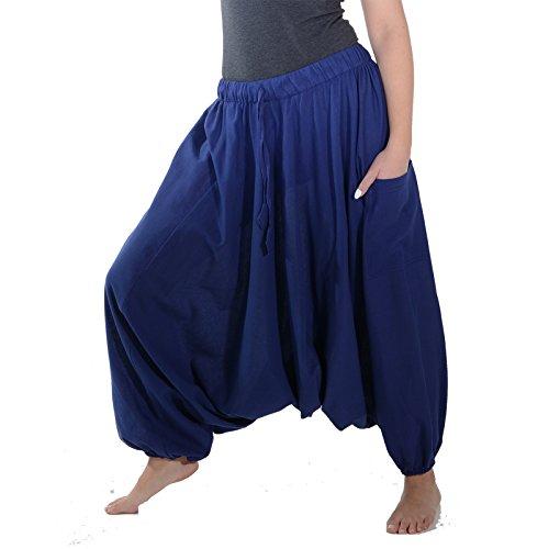 KUNST UND MAGIE Orientalische Haremshose one size in vielen Farben, Farbe:Blau