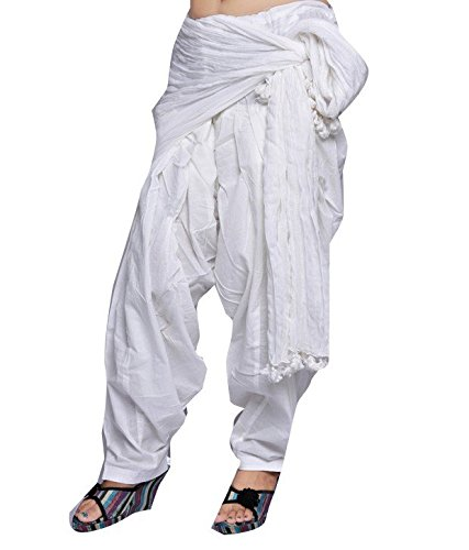 Shiva collections Women's Cotton Patiala Salwar with Dupatta, Free Size (White, scs1035)