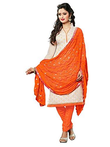 Kanchnar Women's Chanderi off White & Orange Coloured Embroidered Dress Material