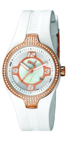 Puma - PU101942002 - Montre Mixte - Quartz Analogique - Cadran Doré - Bracelet Caoutchouc Blanc