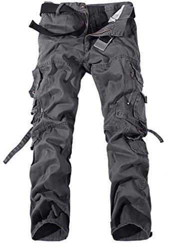 Jeansian Moda Pantaloni Casual Uomo Slim Cargo Pant J201 Gray W32