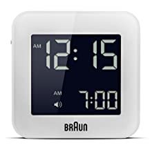 Braun Digital Travel Alarm Clock with Snooze, Compact Size, Negative LCD Display, Quick Set, Beep Alarm in White, BNC008WH