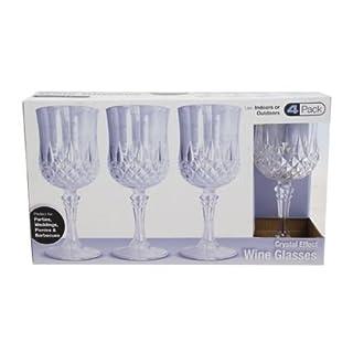 Ardisle 4 Stück starre wiederverwendbare Plastikbecher Weingläser spülmaschinenfester Kristall Stil