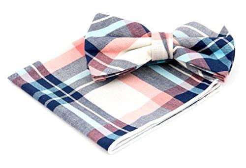 GOOD.designs Set - gebundene Fliege mit Einstecktuch aus echter Baumwolle, Accessoires für Herren-Anzug in verschiedenen Farben (Rosa/Beige) (Herren Fliege-muster)