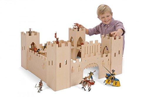 Große Ritterburg aus Holz (ohne Figuren!) / Maße: 75 x 75 x 37 cm / für Kinder ab 3 Jahren / Hergestellt in Deutschland by Bätz Holzspielwaren