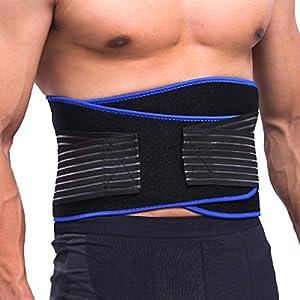 KUOKEL – Bauchweggürtel Fitnessgürtel Schwitzgürtel mit Maßband (verstellbar atmungsaktiv zum Abnehmen und Muskelaufbau für Damen und Herren)