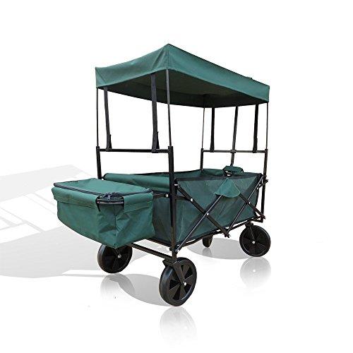 OSKAR Bollerwagen Faltbarer Strandwagen Handwagen Transport Wagen Karre faltbar Dach (Grün)