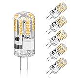 Creyer 5er Pack G4 LED Lampen, Kein Flackern, 210lm, 2.5W Ersetzt 20W Halogenlampen, Warmweiß, Nicht Dimmbar, AC/DC12V, G4 LED Leuchtmittel Birne