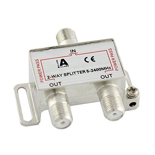 Ligawo 6552100 Sat BK Verteiler Splitter 2-Fach 5-2400 MHz mit DC Durchlass