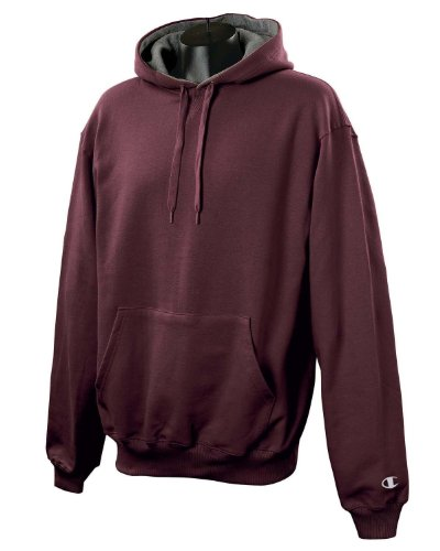 Champion 9.7 OZ, 90/10 Cotton Max Pullover Hood MAROON/GRANITE HTHR