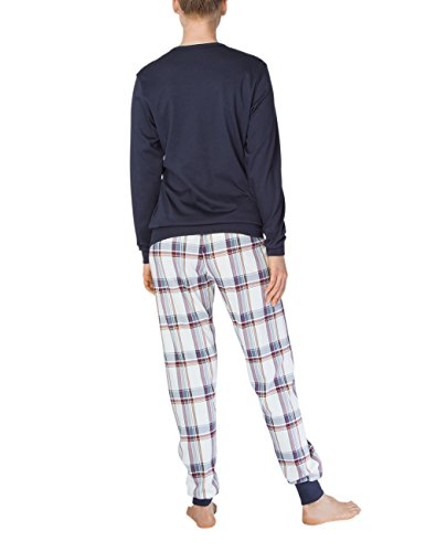 Calida Family Time Damen Pyjama Mit Bündchen, Pigiama Donna Blau (parisian night 429)