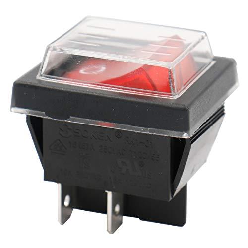Heschen Ein-Aus-Kippschalter, DPDT, 4Pole, 16A, 250V (AC), rot leuchtend, mit wasserfester Abdeckung - Ac Abdeckung