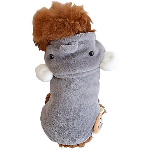 DELEY Perro de Mascota de dibujos animados Elefante de Lana Abrigo de Invierno Cachorro de Gato Caliente Ropa de Traje S