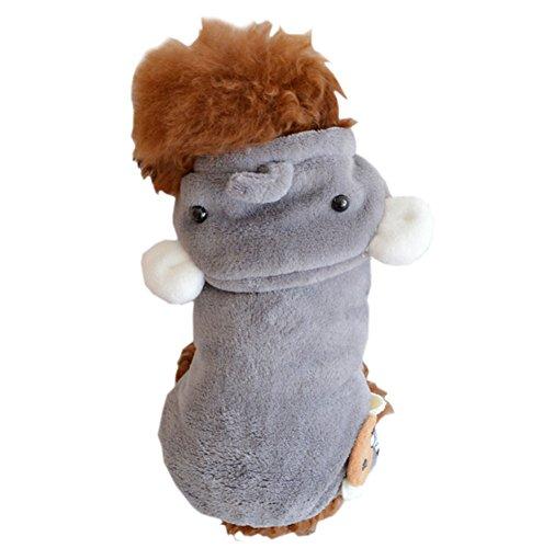 Kostüm Elefant Hunde - DELEY Hund Cartoon Elefanten Fleece Mantel Winter Welpen Katze Warm Bekleidung Jumpsuit Kostüm M