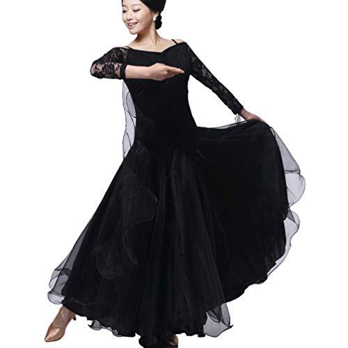 Modernes Tanzkleid für Frauen National Standard Ballsaal Tanz Outfit Spitzennähte Tango Walzer Übungsrock Tüll-Schaukel, Black, ()