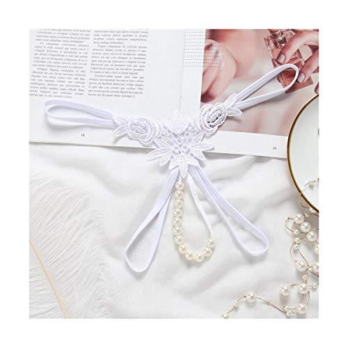 JZLBYZWM Massage Pearl Panties Short Thong Frauen Hot Sexual Massager Perlen Open T-Hose Sexy Dessous Bowknot Panties Sexy Thongs Knickers Briefs (Farbe : White, Size : Freesize) -