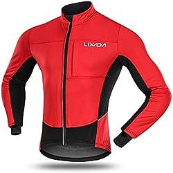 Lixada Chaqueta de Ciclismo Invierno Hombres Térmica a Prueba de Viento de Polar Vellón Abrigo Deportivo para Ciclismo