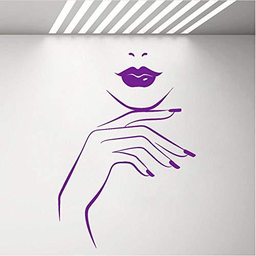Lip Service Vinyl (Waihz 42X59 Cm Girl Lips Hand Vinyl Wall Decal For Beauty Salon Manicure Nail Service Stickers Wall Home Decoration Girls Bedroom Sticker B)
