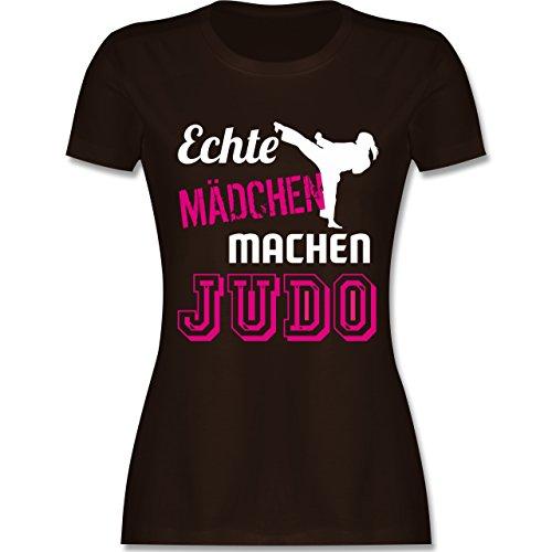 Kampfsport - Echte Mädchen Machen Judo - L - Braun - L191 - Damen T-Shirt Rundhals