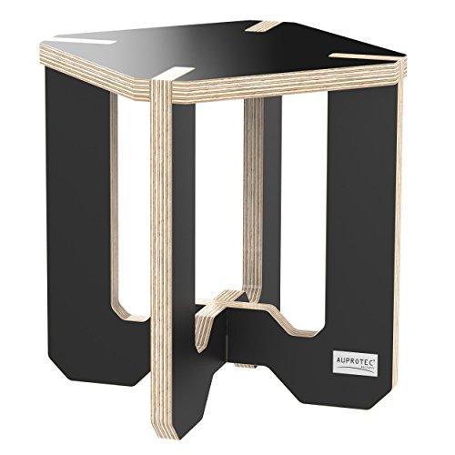 Birke Etagere (AUPROTEC Blumenhocker Beistelltisch HE-11 Birke 25 x 25 x 30 cm Blumenständer schwarz Multiplex Birken-Sperrholz in exklusivem Design als Deko Pflanzen-Säule Fußbank Hocker Tisch)