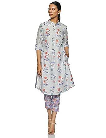 BIBA Women's Cotton Straight Salwar Suit Set (SKD5994_Sky Blue_S (32))