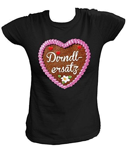 Artdiktat Damen T-Shirt - Lebkuchenherz - Dirndlersatz Größe M, schwarz
