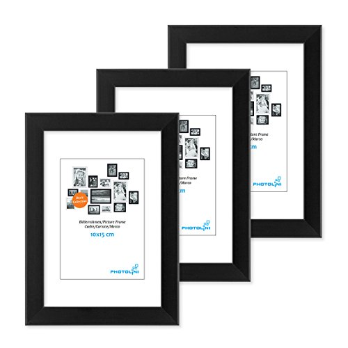 3er Set Bilderrahmen 10x15 cm Modern Schwarz aus MDF mit Acrylglas / Portraitrahmen / MDF-Wechselrahmen (Schwarz 10 Und Weiß)