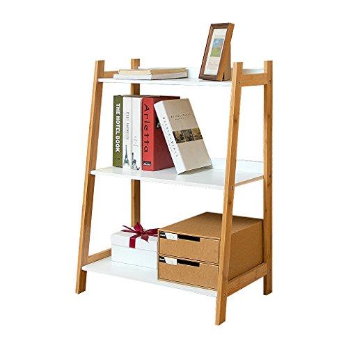 BOOK CASE Bücherregal 3-Tiers Compact Bambus, Mehrzweck-Holz Bücherregal für Home Office, Einfache Robuste Stehregal, Lagerung Filme und Bücher Regale (3-tier-bücherregal-regal)