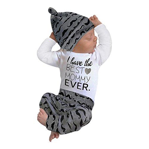 Uomogo ragazza neonato dei vestiti del rgazzo outfit pagliaccetto pantaloni a righe + cappello 3pcs set, 3-24 mesi