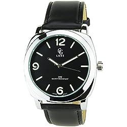 GG LUXE -Herren Armbanduhr schwarz Quarz Gehäuse Stahl Analog Display Typ Water resist 30M-3ATM Armband Kunstleder schwarz