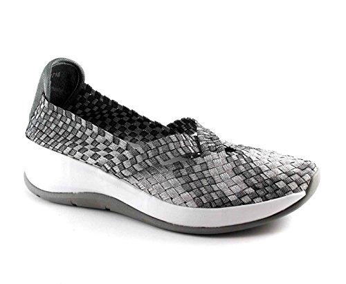 GRUNLAND TECA SC2716 antracite scarpe donna elasticizzata slip on zeppa Grigio