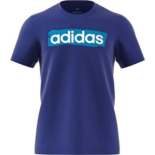 adidas Performance Linear Brush T-Shirt Herren blau/hellblau, L (52/54 EU)